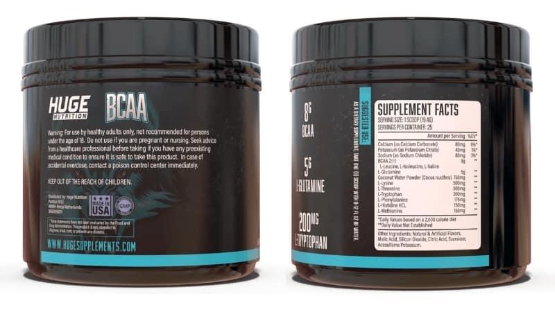 Huge BCAA Ingredients - Supplement Label