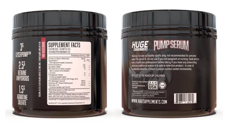 Pump Serum Ingredients - Supplement Label