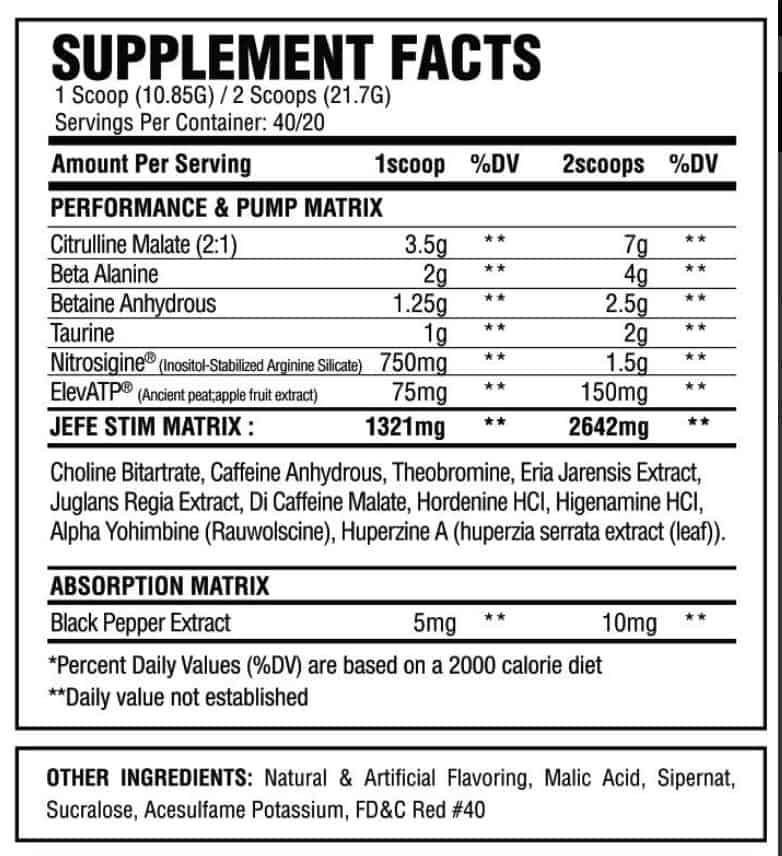 El Jefe Pre-Workout Ingredients and Supplement Label